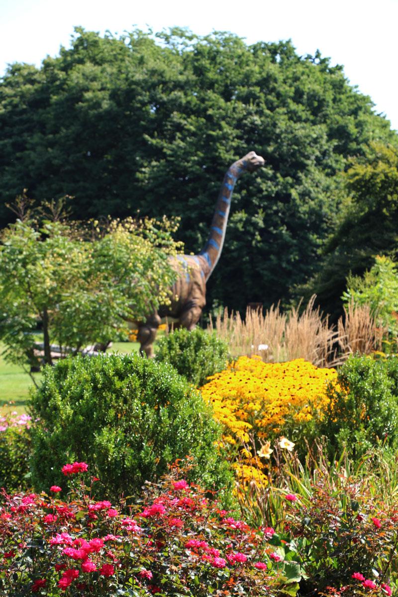 Dinozaver v cvetočem parku
