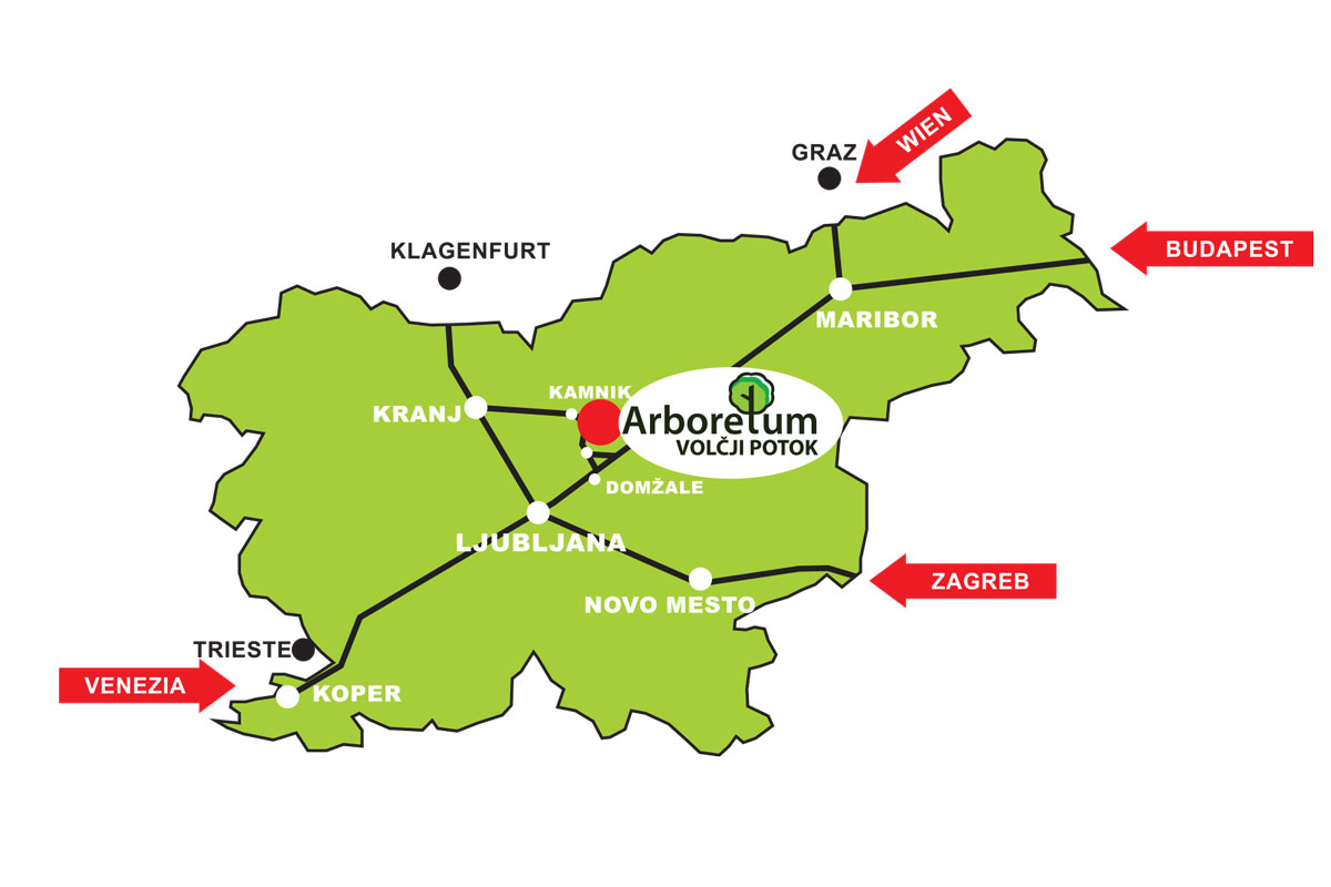 Location of Arboretum Volčji Potok