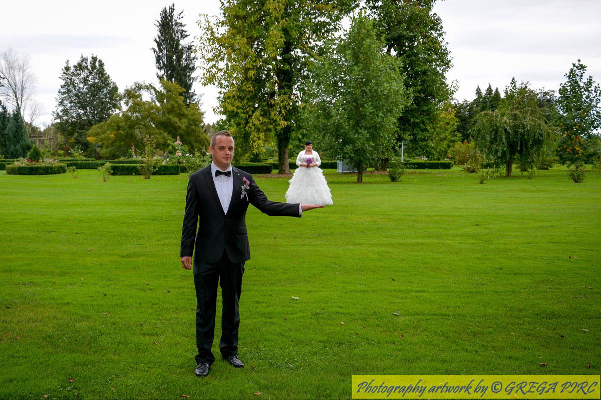 Fotografiranje poroke v Arboretumu Volčji Potok