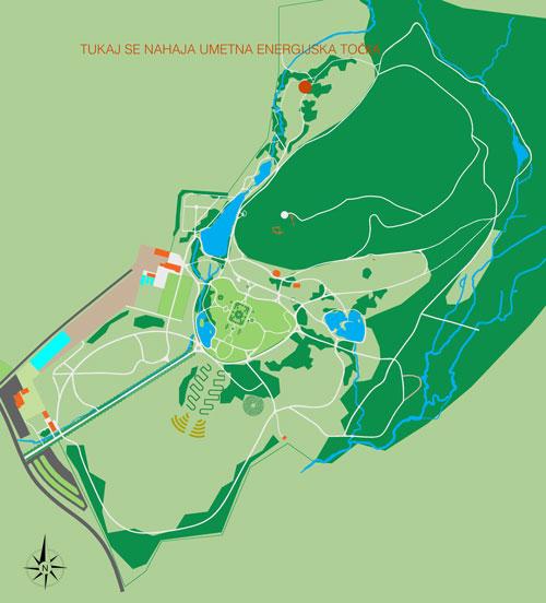 Zemljevid z lokacijo umetne energijske točke
