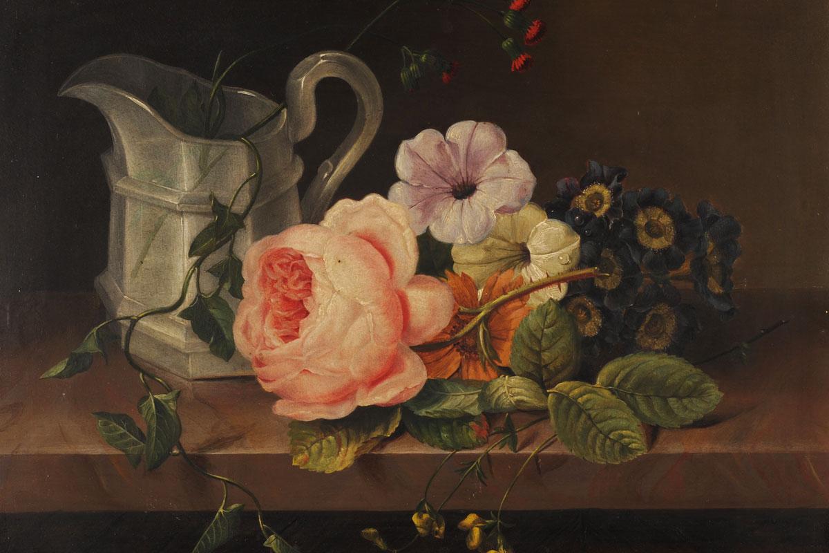 Cvetlično tihožitje Marije Auersperg Attems, ki ga hrani SAZU